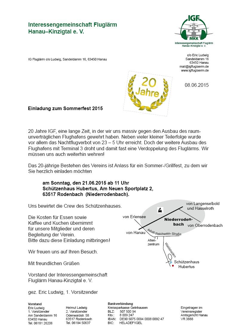 Einladung Sommerfest 2015
