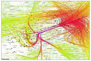 Ohne die Deutsche Flugsicherung geht gar nichts: Hier die Flugspuren eines Tages um Frankfurt