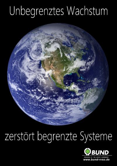 Erdkugel - Unbegrenzes Wachstum zerstört begrenzte Systeme